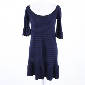 Free People blue wool bell sleeve shift dress S P